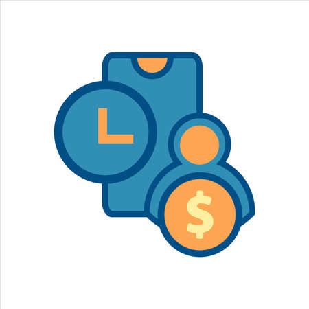 flat design style mobile finance icon vector concept. smartphone with money and time icon.