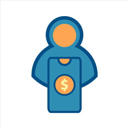 flat design style mobile finance icon vector concept. smartphone with money and user icon.