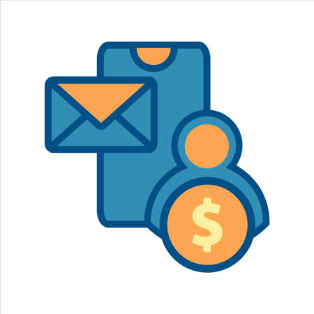 flat design style mobile finance icon vector concept. smartphone with money and message icon. Ilustração