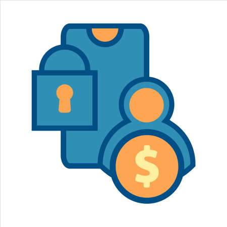 flat design style mobile finance icon vector concept. smartphone with money and security lock icon. Ilustração