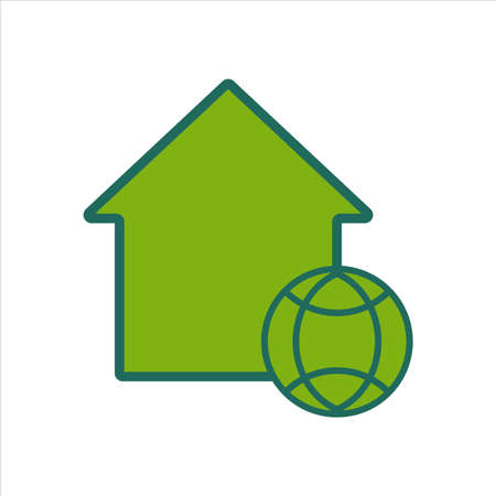 home icon. home icon with globe . home icon concept for mobile and web design, design element. home icon illustration.