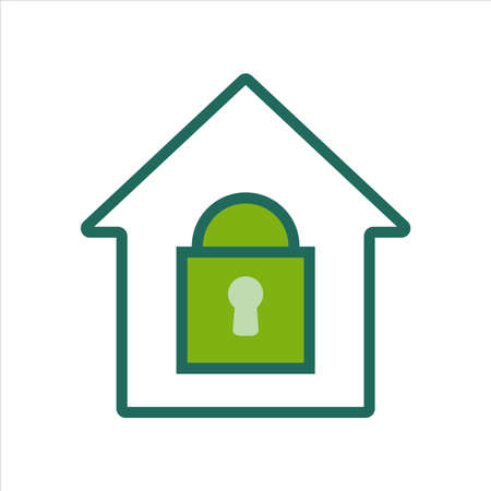 home icon. home icon with security lock . home icon concept for mobile and web design, design element. home icon illustration.