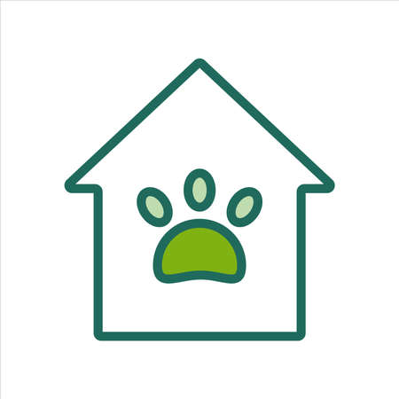home icon. home icon with pet paw. home icon concept for mobile and web design, design element. home icon illustration.