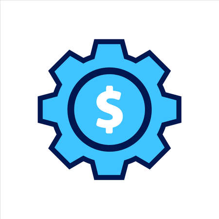 setting icon. setting with money symbol. Concept of financial adjustment. Vector illustration, vector icon concept.