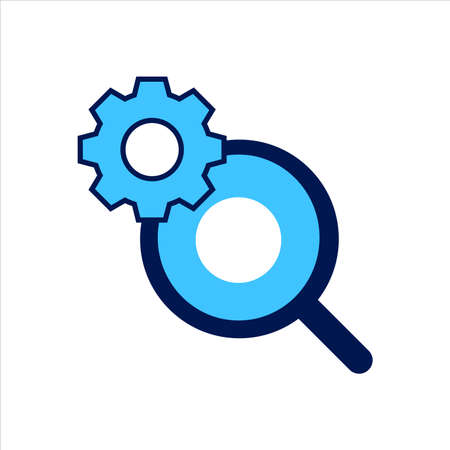setting icon. setting with search symbol. Concept of search setting. Vector illustration, vector icon concept.