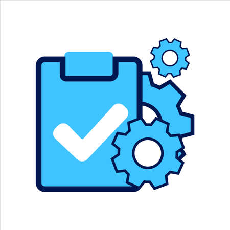 setting icon. setting with task symbol. Concept of task management. Vector illustration, vector icon concept.