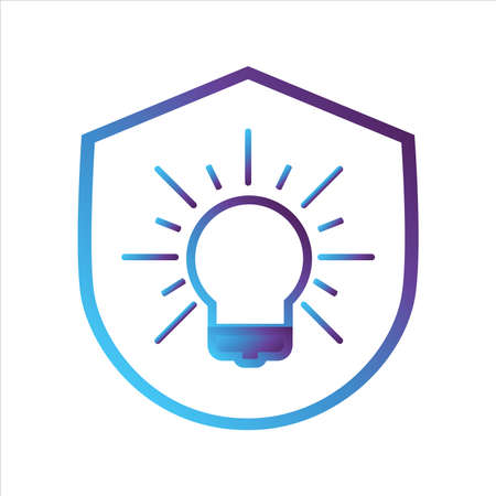 security shield icon. shield with idea symbol. gradient style outline Vector illustration, vector icon concept.
