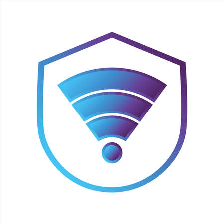 security shield icon. shield with wifi symbol. Concept of network security . gradient style outline Vector illustration, vector icon concept.