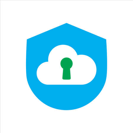 shield with cloud. Concept of cloud network protection. vector icon concept.