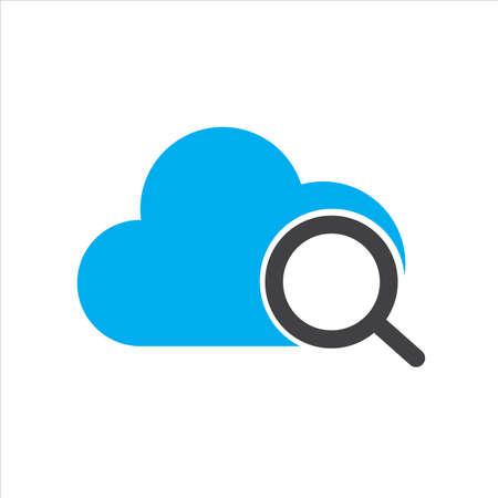 cloud illustration. cloud with search symbol. Concept of cloud computing. vector icon concept. Ilustração