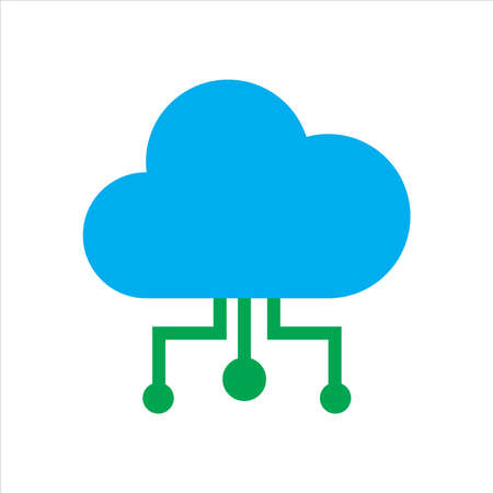cloud illustration. cloud with conection. Concept of cloud computing. vector icon concept.