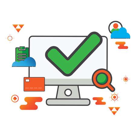 checkmark illustration. computer illustration. Flat vector icon. can use for, icon design element,ui, web, app. Ilustración de vector