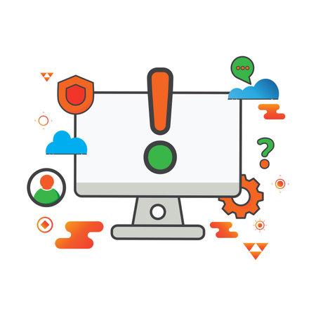 warning illustration. computer illustration. Flat vector icon. can use for, icon design element,ui, web, app. Ilustración de vector
