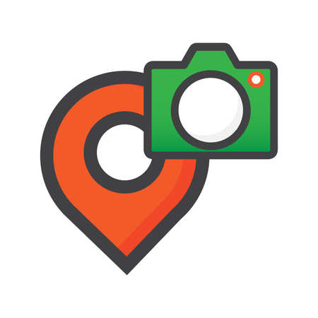 location illustration. location with camera icon. can use for, icon design element,ui, web, app.