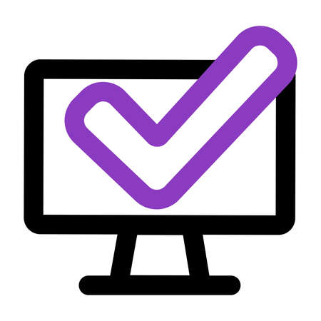 computer icon. computer with checkmark. outline vector icon. can use for, icon design element,ui, web, mobile app.