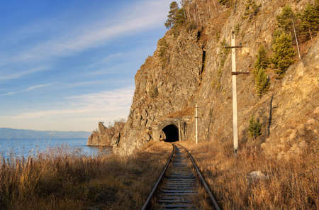Circum-Baikal railway tunnel in October photo