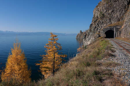 Autumn on the Circum-Baikal railway on south Baikal photo