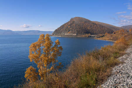 Autumn in the south of Lake Baikal in Circum-Baikal railroad photo