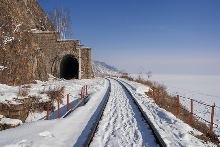 Winter road Circum-Baikal  Circum-Baikal railway in January  photo