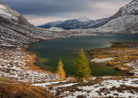 Autumn in the Eastern Sayan Mountains  Lake in the upper reaches of river Arhat   photo
