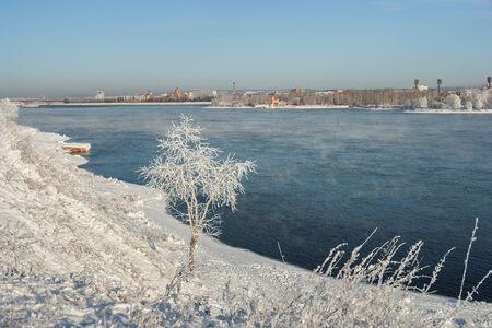 Angara River and the city of Irkutsk. View from the left bank of the Angara at Irkutsk