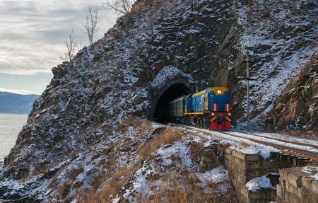 環バイカル鉄道の晩秋 写真素材