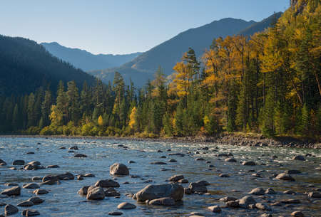 eastern sayan: Kitoy river in the mountains of Eastern Sayan in Eastern Siberia Stock Photo