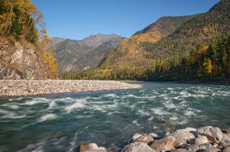 tunka range: Kitoy river in the mountains of Eastern Sayan in Eastern Siberia Stock Photo