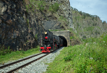 Old steam locomotive in the Circum-Baikal Railway Stock fotó