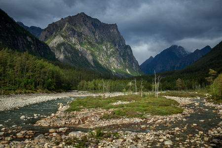 Bad weather in the mountains Kodarsky Range in Transbaikalia, Eastern Siberia