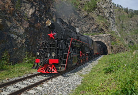 Old steam locomotive in the Circum-Baikal Railway Imagens