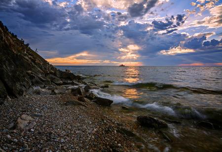 Sunrise in the south of Baikal Imagens