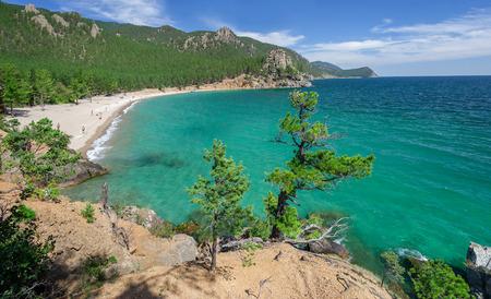 Panorama of the Grandmothers Bay on Lake Baikal Imagens