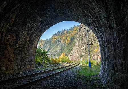 View from the tunnel in Circum-Baikal railway