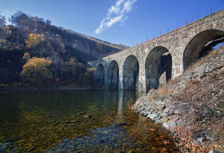Railway bridge on the Circum-Baikal railroad on lake Baikal Imagens