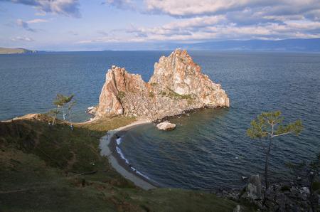 Rock Shaman Stone and cape Burhan on Olkhon Island, Eastern Siberia, Irkutsk region Imagens