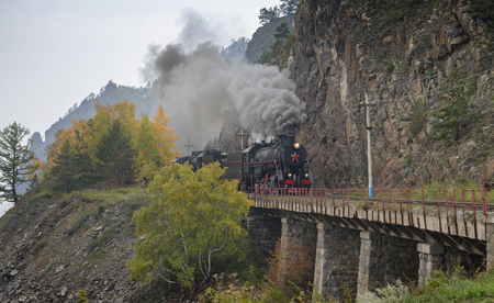 Old steam locomotive in the Circum-Baikal Railway Stock Photo