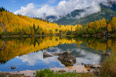 The beginning of the autumn in the mountains