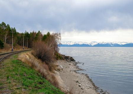 Spring in the south of Lake Baikal in Circum-Baikal railroad