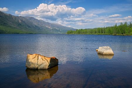 The Lake Leprindo in the mountains in Transbaikalia Eastern Siberia