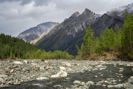 Shumak River in the Tunkinskie loach Stock Photo