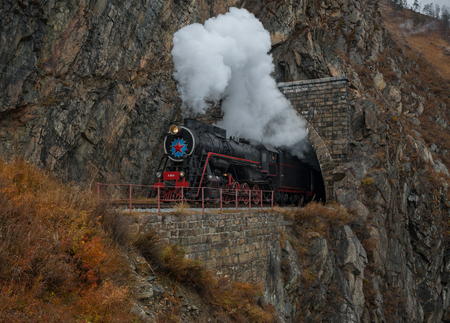 Old steam locomotive in the Circum-Baikal Railway 写真素材