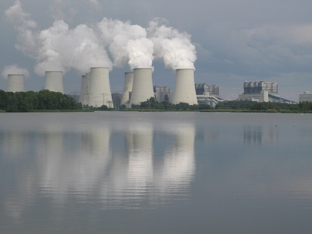 Cooling towers of a coal fired power plant in Brandenburg, Germany Stock Photo
