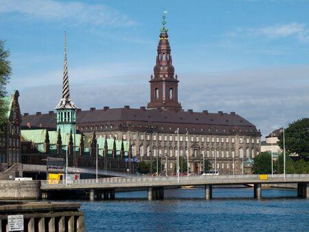 View over the inner harbor of Copenhagen towards Christiansborg Palace Stock Photo