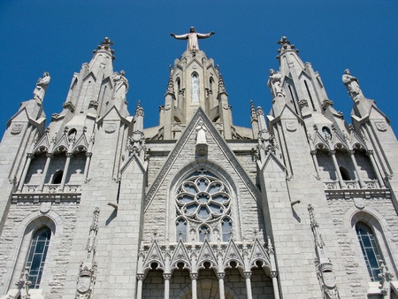 sagrat cor: Temple Expiatori del Sagrat Cor, church on tibidabo in barcelona, spain
