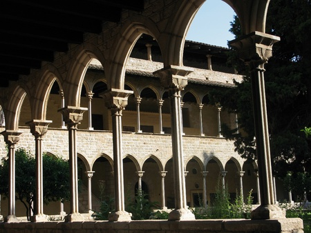 view into the cloister of the monastery of pedralbes in barcelona, spain Stock Photo - 8747389