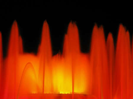 Magic fountain of Montjuic light show at Plaza Espanya in Barcelona.  photo