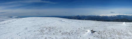 panorama of Snowy mountains in the pyrenees, Spain. Vall de la Vansa, sierra del Cadi photo