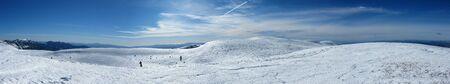 panorama snowy mountains in the pyrenees, Spain. Vall de la Vansa, sierra del Cadi