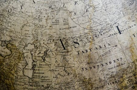detail of a old map on a globe from the 18th century